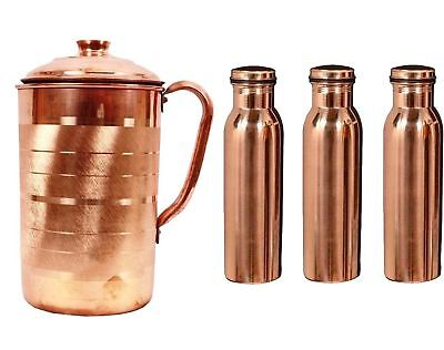Pure Copper Plain Jug and 3 Copper Bottles Set Drinking Water Ayurveda Treatment