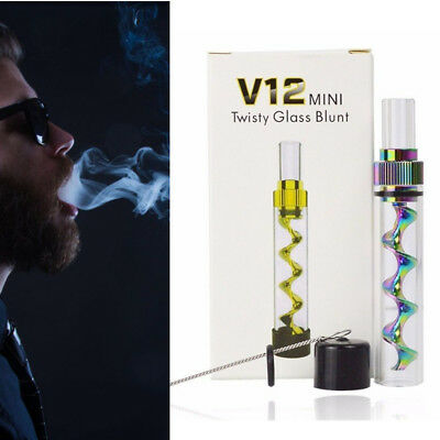 V12 Mini Twisty Glass Tube Pipe Blunt Kit Random Color With Silicone Caps