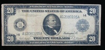 1914 Large Size $20 Federal Reserve Note Boston Mass * US Paper Money *