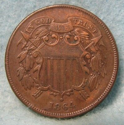 1864 Civil War Era Two Cent Piece XF- * US Coin *