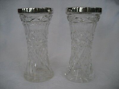 IMPRESSIVE PAIR OF CUT GLASS SILVER MOUNTED VASES - H Hobson, London,1927.