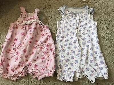 Baby Girls Summer Rompers Dungarees X2 6-9 Months