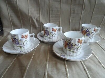 Antique Demitasse Cups and Saucers, Set of 4