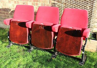 Original Vintage Retro Red Folding Theatre Cinema Chairs Seats, Set of 3 - Row A
