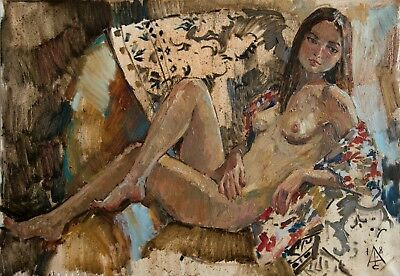 relaxation nude Etude woman by artist S. AVDEEV RUSSIAN Original oil Painting