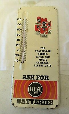 RCA BATTERIES Advertising Metal Wall Thermometer Working Excellent Condition!