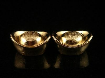 Pair Gold Gilt Chinese Feng-Shui Mini Yuan-Bao Ingots Home Decor Feng-Shui Chi