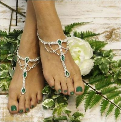 e26ad879353e6 JEWELED BAREFOOT SANDALS Wedding Foot Bling Vacation jewelry Bridal ...
