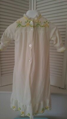 Vintage Toddler Girls Yellow Nightgown and Robe with Embroidery  12-24 mths