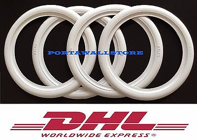 """Atlas Brand Motorcycle Front 16"""" Wide Back 15"""" Wide Whitewall Tire Trim Set x4"""