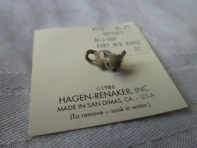 VTG Hagen Renaker porcelain ceramic miniature Baby new mouse on card 1986