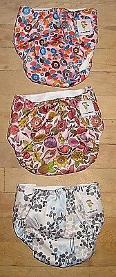Lot Of 3 Kawaii Baby Cloth Snap Diapers One Size Os