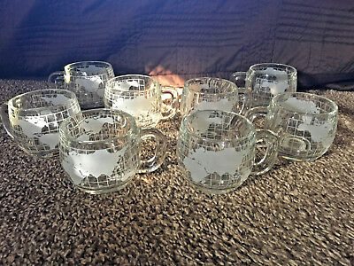 8 Old Vintage NESTLE NESCAFE Etched World Globe Coffee Mugs/Tea Cups EUC