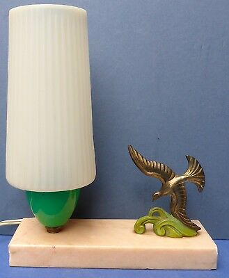 Lovely Vintage French Art Deco Table Lamp 1930s Marble Base Spelter Bird Light