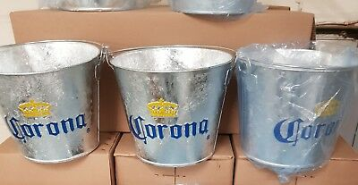 3x CORONA GALVANISED  BOTTLE ICE BUCKETS WITH ATTACHED BOTTLE OPENER NEW