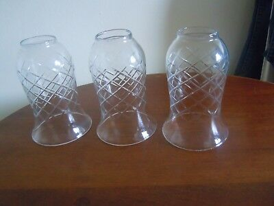 Vintage / Antique Cut Glass Bell Shaped Lamp Shade X 3  15 Cms High