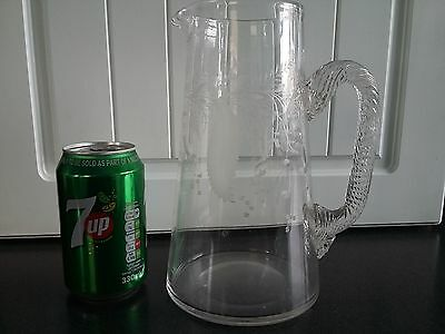 Large Heavy Cut Glass Georgian Victorian Acid Etched Water Jug Twisted Handle