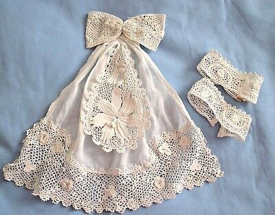 Vintage Delicate Lace Items x 4 White Hand Crochet Collar or Jabot Bow & Cuffs