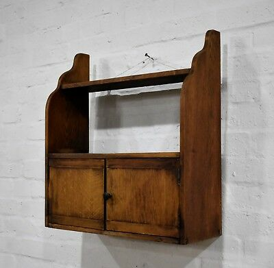 Antique vintage rustic oak wall hanging shelf with cupboard - wall cabinet