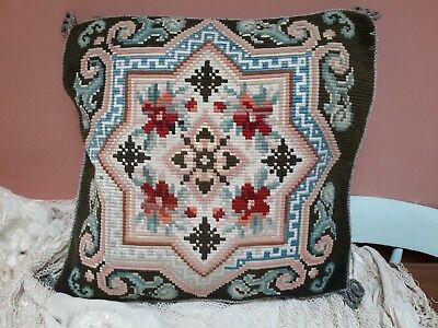 Vintage Tapestry Cushion Cover Needlepoint Hand Stitched Velvet Back Antique