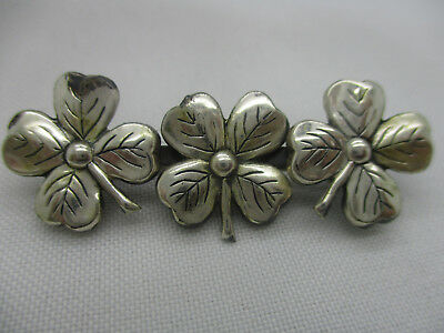 Sterling Silver .925 Gold Overlay Detailed 4-leaf Clover Good Luck Pin 6g D15 Fine Jewelry Jewelry & Watches