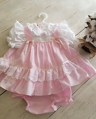 Vintage Sweet Treats  baby girls dress pink bloomers 0-3 mths