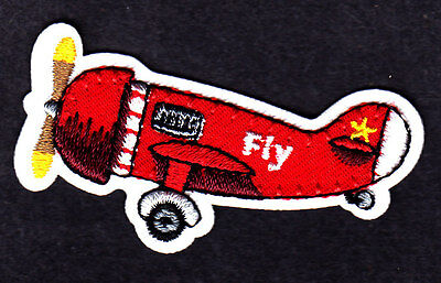"""Airplane """"Fly"""" Aircraft Flying Plane Iron On Embroidered Patch"""