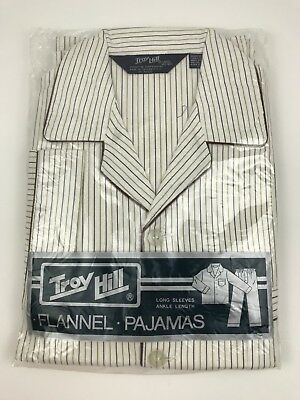 Vintage Troy Hill Mens Striped Flannel Pajamas Size Large 42-44 Dead Stock NOS