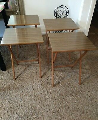 VINTAGE SCHEIBE Wood Folding TV Trays Snack Serving 4 Tables Set Mid ...