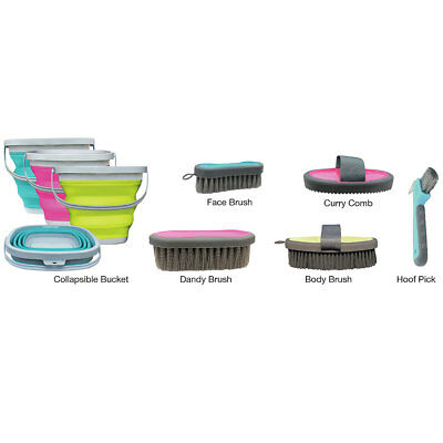 Professional Choice Horse Grooming Kit Brush Comb W/ Collapsible Silicon Bucket