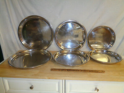 """6 Pizza Pan Serving Tray (2) 11"""" (2) 13"""" (2)15"""" x 1.25"""" Heavy Stainless Steel"""