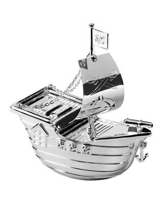 Silver Plated Pirate Ship Money Box With Engraving Plate