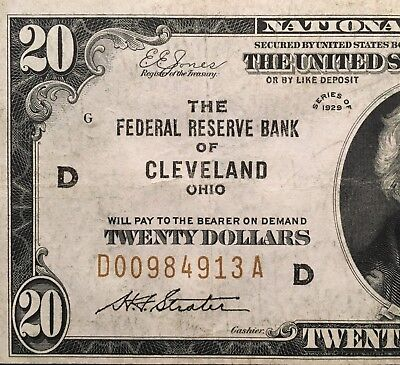 Fr. 1870-D 1929 $20 Frbn Federal Reserve Bank Note Cleveland, Oh Uncirculated