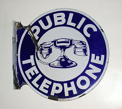 Authentic Vintage Two-Sided Porcelain Telephone Sign From Nebraska
