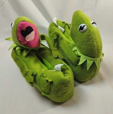 Vintage 1984 Henson Assoc. Kermit The Frog Slippers Large Size Stock 3052