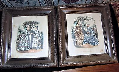 "PAIR Antique 19th C French Leroy of Paris Prints "" La Mode Illustree"" c. 1890"