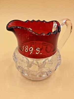 Ruby Stained EAPG Pattern Glass Creamer or Small Pitcher Kingston 1893,Bulls eye