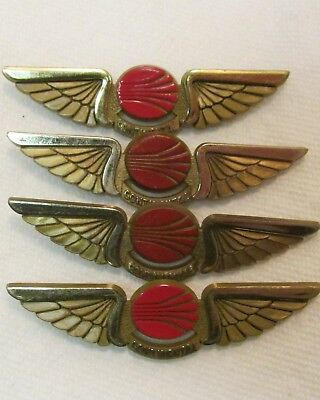 "Lot Of 4 Vintage Stoffel Continental Airlines Plastic Wings Badges, 2.7"" Used-Vg"