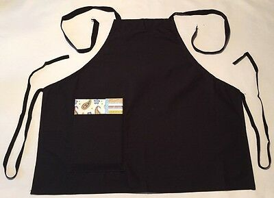 Black Restaurant Bib Apron w/Right Hand Pocket, Spun Poly, 100% American Made