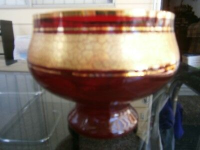 ruby glass and gold bowl