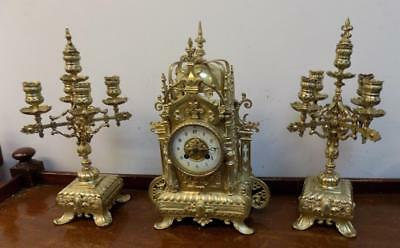 french brass cased clock garniture c1900s