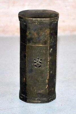 Old Antique India Rare Brass Hand Carved Jali Cut Islamic Tobacco Lime Pest Box