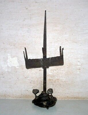 1700'S Ancient Primitive Rare Steel Hand Carved Rusty Tribal Hanging Oil Lamp