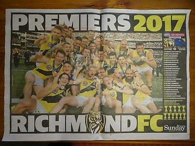AFL Richmond Tigers Premiers 2017 Herald Sun Poster Dustin Martin Football