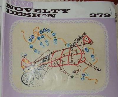 NEW UNWORKED SEMCO DOILY to EMBROIDER~NOVELTY DESIGN #379~HORSE~SULKY~TROTTING