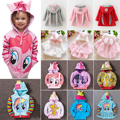 Winter Kids Girls Hoodie My Little Pony Rabbit Ears Hooded Coat Jacket Outerwear