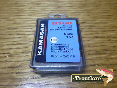 100 x KAMASAN B160 #12 NYMPH / WET FLY HOOKS - NEW FLY TYING MATERIALS