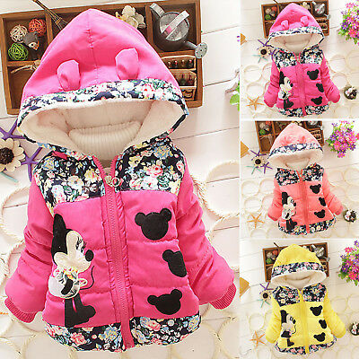 Baby Girls Minnie Mouse Hooded Coat Jacket Winter Warm Toddler Outwear Clothes
