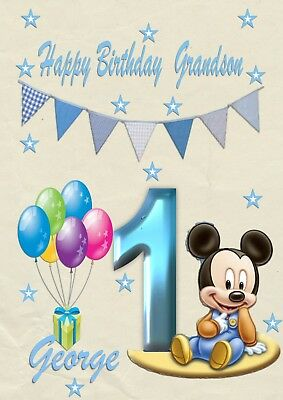 Personalised 1st birthday card Micky 2nd 3rd son grandson  Nephew any age