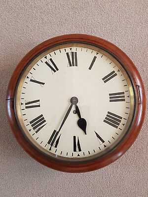 "Antique Mahogany Fusee Wall Clock with 12"" Dial"
